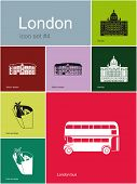 Landmarks of London. Set of flat color icons in Metro style. Raster image.