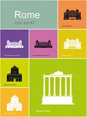 Landmarks of Rome. Set of flat color icons in Metro style. Raster image.