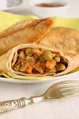 foto of samosa  - Vegetable Samosas a spicy blend of vegetables wrapped in a deep fried triangular pastry parcel - JPG
