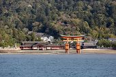 Ancient Gate Called Torii In Miyajima Island, Japan