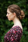 Profile Of Beautiful Woman In A Summer Dress