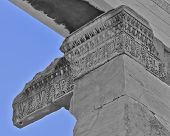 ancient temple detail in black and white