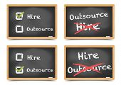 detailed illustration of different blackboards with hire or outsource options, eps10 vector, gradient mesh included