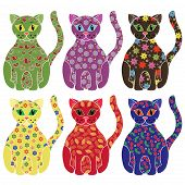 Set Of Six Colorful Funny Cats Over White