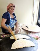 Turkish woman cooking pastry