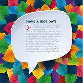 abstract rainbow leaf vector background with speach bubble