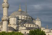 Sultan Ahmet Camii ( Blue Mosque ) Glows In Early Evening Light
