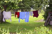 Clothes Hanging On Clothesline  To Dry