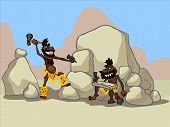 The illustration of two cartoon cavemen in a desert