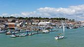 stock photo of sea cow  - Boats and yachts Cowes harbour Isle of Wight - JPG