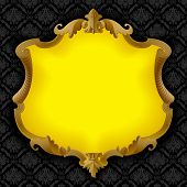Vector image of a beige baroque frame with yellow field isolated on a black decorative background