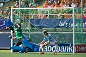 THE HAGUE, NETHERLANDS - JUNE 1. Netherlands scores from a penalty corner against Argentina (3-1) Go