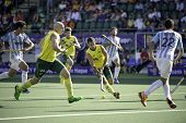 THE HAGUE, NETHERLANDS - JUNE 13: Australian player Dwyer playing the ball during the semi-finals of