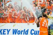 THE HAGUE, NETHERLANDS - JUNE 14: Captain Maartje Lammers of the Dutch field hockey team sprays cham