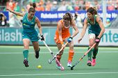 THE HAGUE, NETHERLANDS - JUNE 14: Dutch player Lidewij Welten breaks through the Australian Defence