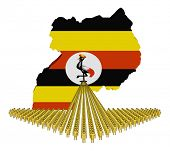 Arrow of people with Uganda map flag illustration
