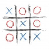 stock photo of tic-tac-toe  - Scribble tic tac toe illustration - JPG
