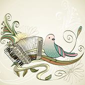 image of accordion  - hand drawn accordion on a light background - JPG