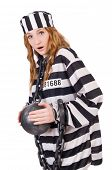 foto of prison uniform  - Prisoner in striped uniform on white - JPG