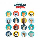 stock photo of panda  - Flat Style Animals Avatar Vector Icon Set Isolated - JPG