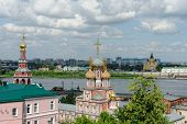 Stroganov Church on Volga Embankment and Alexander Nevsky Cathedral on the Shooter in Nizhny Novgoro