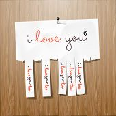 I love you handwritten on advertisement leaflet