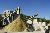 foto of sand gravel  - gravel pit operation that produces sand and gravel for construction - JPG