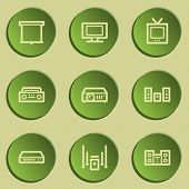 Audio video web icons, green paper stickers set
