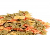 background of the farfalle pasta three colors
