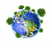 Earth with the different elements on its surface. Environmental Concept. Best Internet Concept of gl