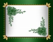 Christmas border green satin