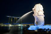 Night View At Marina Bay Sands Resort Panorama With Merlion Statue