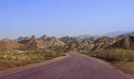 picture of landforms  - Landformed Geological, Colored Zhangye Danxia , Gansu ,China - JPG