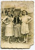 POLAND, CIRCA 1930:  Vintage photo of little girls