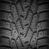Car Tire Tread Background Closeup.