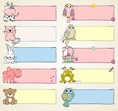 picture of baby frog  - Vector hand drawn baby banners with animals - JPG