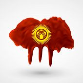 Flag of Kyrgyzstan painted colors