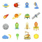 Space icons set of rocket  galaxy  planet ufo vector illustration