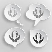 headphones in hands. White flat raster buttons on gray background.