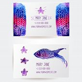 Set of two creative business card templates with artistic vector design. Pink and purple watercolor