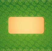Green paisley pattern with banner