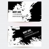 Set of two creative business card templates with artistic vector design. Abstract black ink grunge s