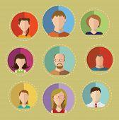 Faces Circle Flat Icons Set