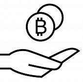 Bitcoins on hand icon