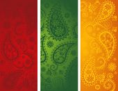 Colorful Indian paisley vertical banners