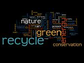 Concept or conceptual abstract green recycle ecology and conservation word cloud text on black background