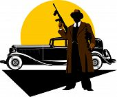 picture of tommy-gun  - Black retro car on  - JPG