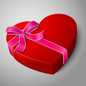 Vector realistic blank bright red heart shape box with pink ribbon and bow-knot isolated on gray bac