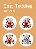 Emotional Teddy bears icons. Set of editable vector color illustrations.