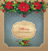 Christmas vintage card with floral garland. Vector eps 10.